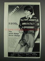 1983 Henry's Izod Shirts and Shorts for Boys Ad