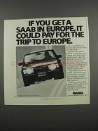 1983 Saab Car Ad - Pay for the Trip to Europe