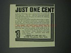 1914 Three-in-One Oil Ad - Just One Cent