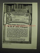 1919 A.B.A. American Bankers Association Cheques Ad