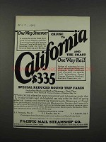 1925 Pacific Mail Steamship Co. Ad - California