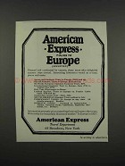 1925 American Express Ad - Tours to Europe