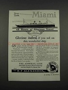 1925 The Admiral Line Ad - New York Miami
