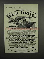 1929 Holland-America Line Ad - West Indies