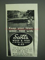 1951 Scotts Weed & Feed and 4-XD Ad - Keep Your Lawn
