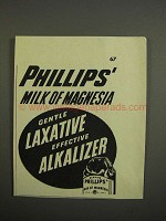 1952 Phillips' Milk of Magnesia Ad - Gentle Laxative