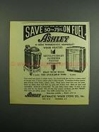 1954 Ashley Thermostatic Downdraft Wood Heaters Ad