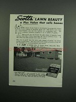 1954 Scotts Lawn Products Ad - A Plus Value That Sells