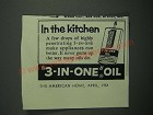 1954 3-in-One Oil Ad - In The Kitchen