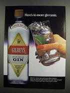 1984 Gilbey's Gin Ad - Here's to More Gin Taste