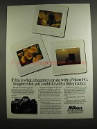 1984 Nikon FG Camera Ad - What a Beginner Can Do