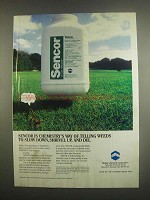 1984 Mobay Sencor Ad - Telling Weeds to Slow Down