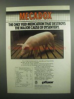 1984 Pfizer Mecadox Ad - Destroys Cause of Dysentery