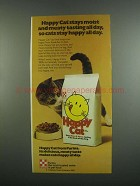 1984 Purina Happy Cat Food Ad - Stays Moist and Meaty