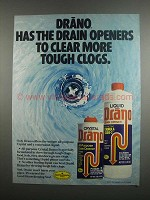 1984 Drano Drain opener Ad - Clear Tough Clogs