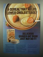 1984 Quaker Oat Bran Ad - Helps Lower Cholesterol