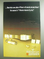 1984 Citizen Quartz MusicAlarm Lyric Watch Ad - 8 Bars