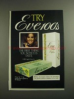 1984 Eve Slim Lights Cigarettes Ad - Try Eve 100's
