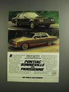 1984 Pontiac Bonneville and Parisienne Cars Ad