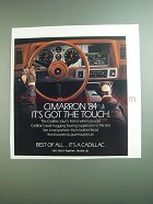 1984 Cadillac Cimarron Ad - It's Got the Touch