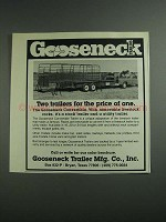 1984 Gooseneck Convertible Trailer Ad - Price of One