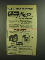 1955 Surge Babson Standard Cooler and Spray Cooler Ad