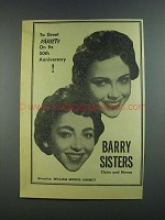 1956 Barry Sisters Ad - Variety 50th Anniversary
