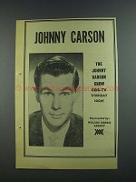 1956 CBS-TV Johnny Carson Show Ad