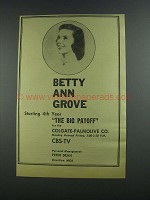 1956 CBS-TV The Big Payoff Ad - Betty Ann Grove