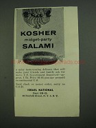 1956 Israel National Kosher Midget-party Salami Ad