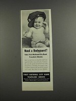 1957 First National City Bank Travelers Checks Ad