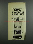 1958 Ronson Ronsonol Lighter Fuel Ad - Switch Spout