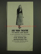 1958 The Song of Bernadette Movie Ad - Jennifer Jones