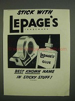 1958 Lepage's Glue and Tape Ad - Stick With