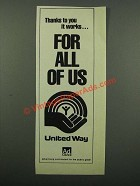 1976 United Way Ad - Works For All Of Us