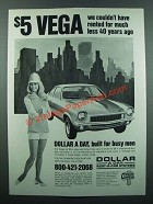 1973 Dollar Rent-A-Car Ad - $5 Vega