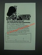 1972 Scottish World Festival at Canadian Exposition Ad