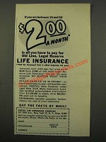 1949 Postal Life Insurance Copany Ad - $2.00 A Month