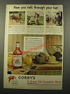 1947 Corby's Whiskey Ad - How You Talk Through Your Hat