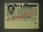 1947 Chicago School of Nursing Ad - Be a Nurse