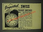 1946 United Products Co. Pocket Watches Ad - Imported