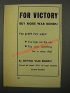 1943 U.S. War Bonds Ad - For Victory Buy More