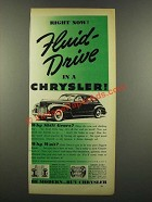1940 Chrysler Motors Ad - Right Now! Fluid-Drive