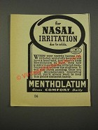 1940 Mentholatum Ointment Ad - For Nasal Irritation