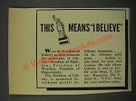 1940 The Emblem of Liberty Ad - Means I Believe