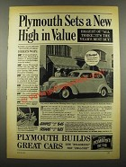 1939 Plymouth Car Ad - Sets a New High in Value