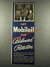 1939 Socony-Vacuum Mobiloil Ad - Balanced Protection