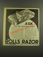 1938 Rolls Razor Ad - Ask Your Wife About Your Shave