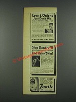 1937 Zonite Antiseptic Ad - Love & Onions