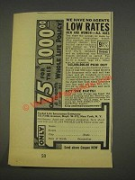 1937 Postal Life Insurance Company Ad - Low Rates